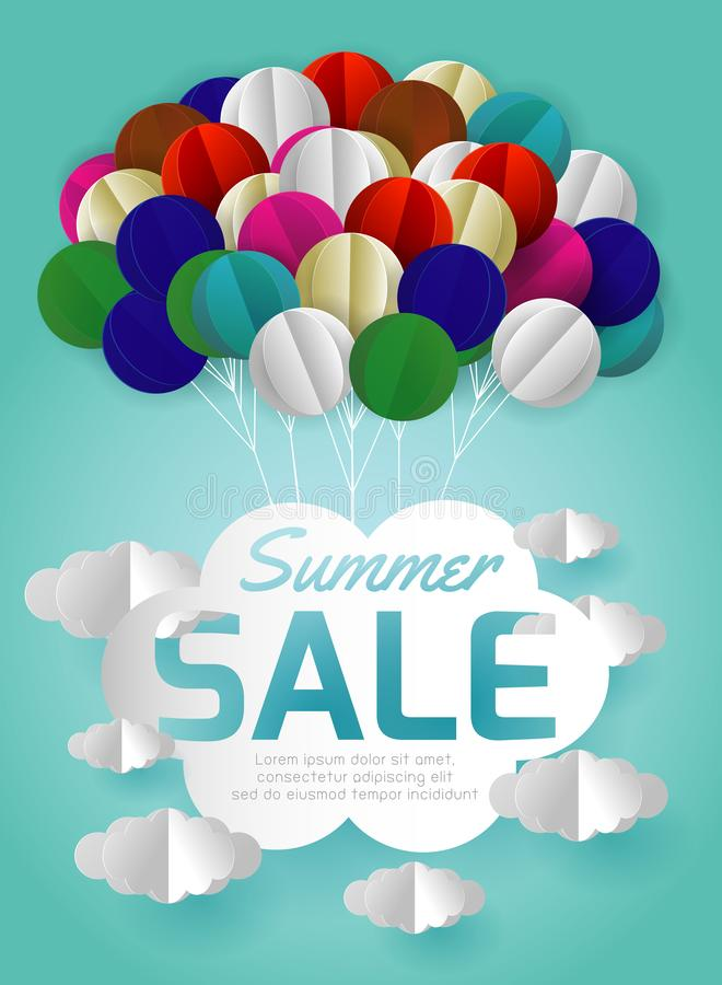 Summer sale banner with paper origami balloon and clouds, flyer, invitation, poster, web site or greeting card.paper art style. Gift voucher vector stock illustration