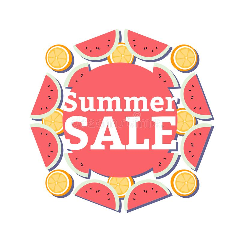 Summer Sale banner with pieces of ripe fruit, watermelon and orange on white background vector illustration