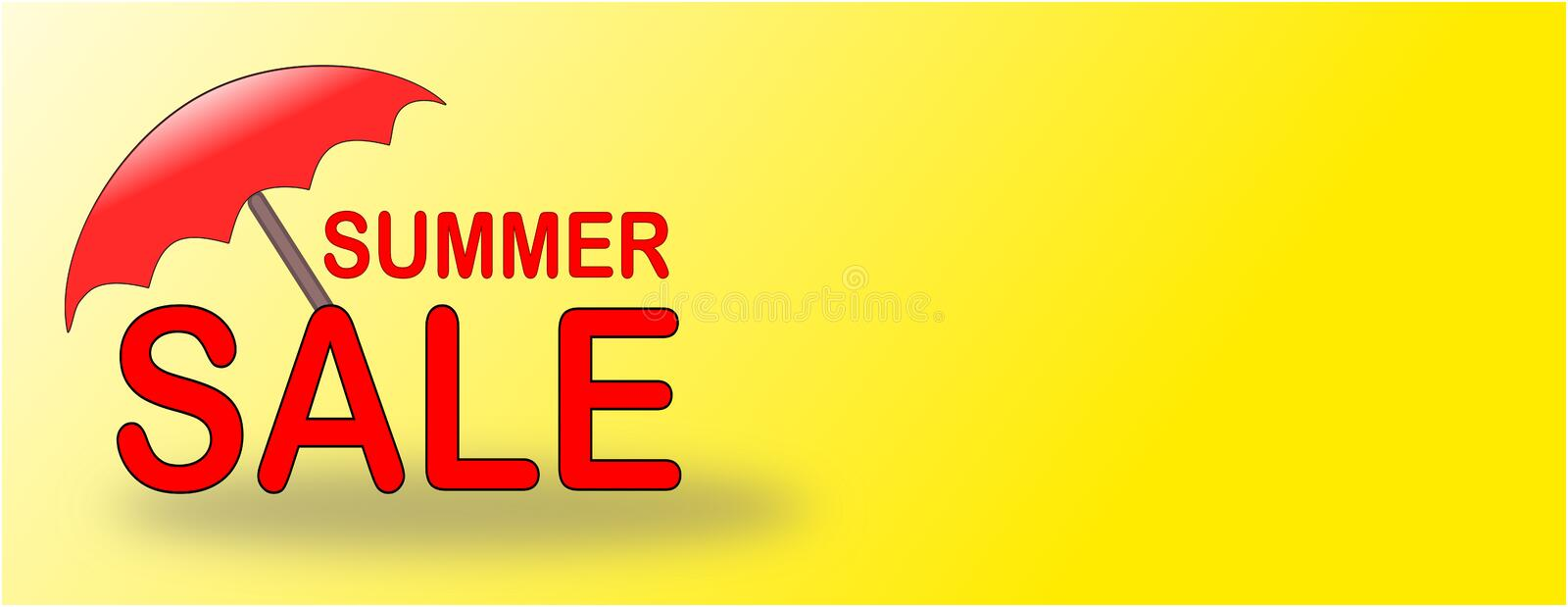Summer Sale banner with red beach umbrella royalty free stock image