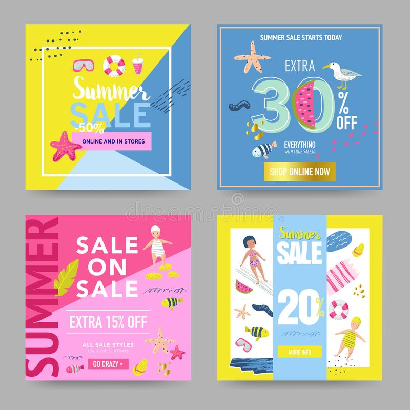 Summer Sale Banner Set with Beach Elements. Discount Poster Templates. Hand Drawn Promotional Design for Flyers stock illustration