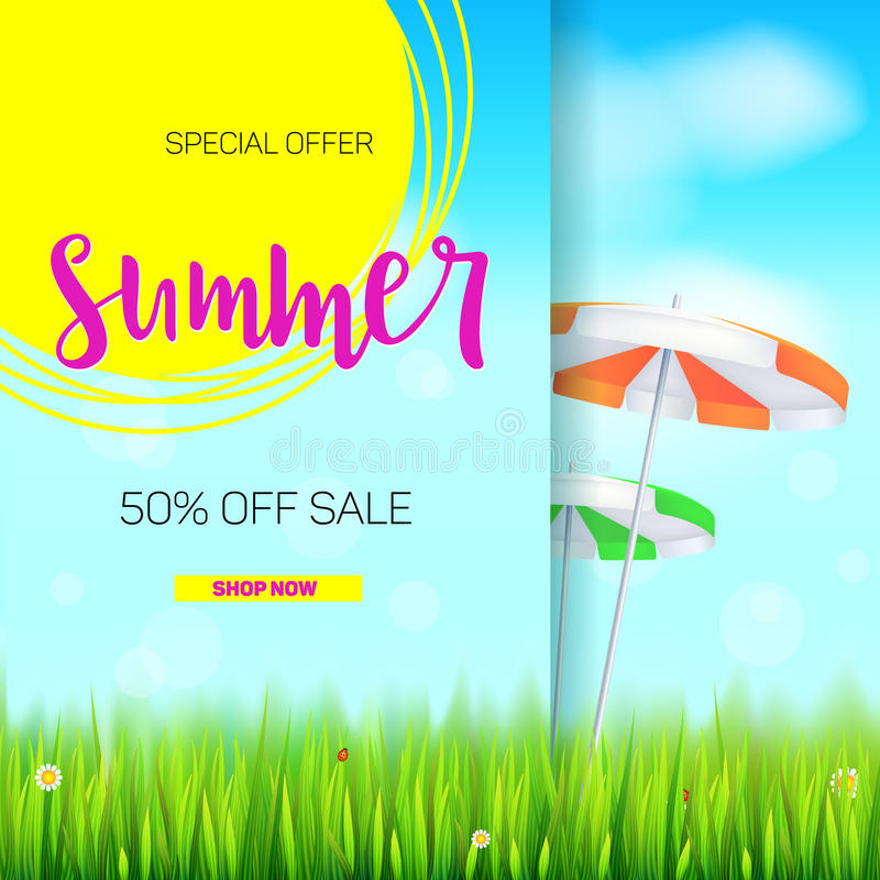 Summer sale banner. Stylish advertisement text poster on blue summer sky backdrop with clouds, sun umbrellas, grass. Daisies and ladybugs. Template mock-up for royalty free illustration