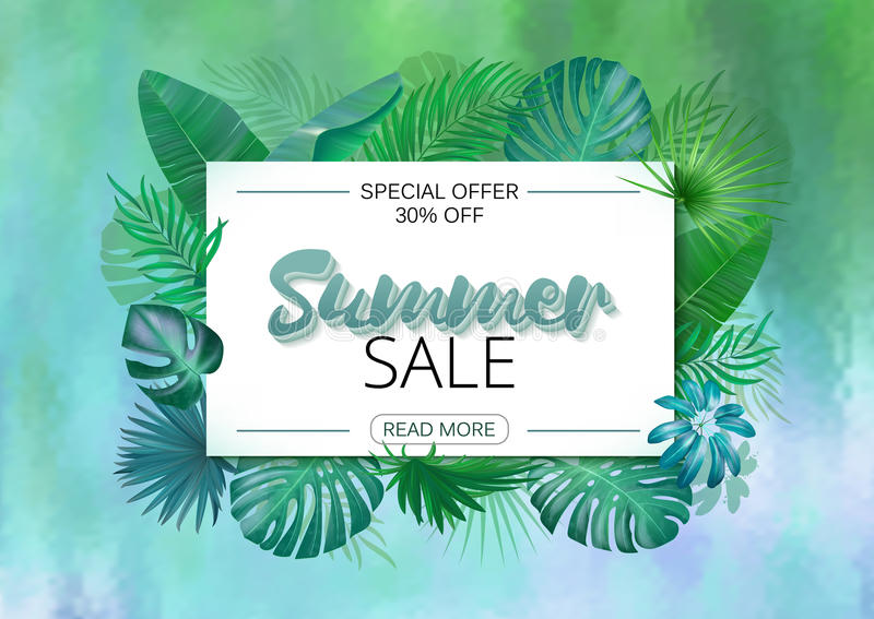 Summer sale banner. Summer Sale poster design for print or web. Vector discount banner. Tropical leaves background. Wet royalty free illustration