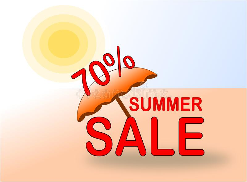 Summer Sale 70% banner with sun and beach umbrella royalty free stock photos