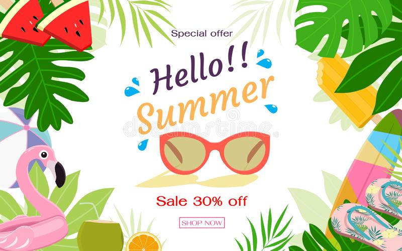 Summer sale banner template. Flat design vector illustration. Summer items with space for text at the middle. Summer sale banner template. Flat design vector stock illustration