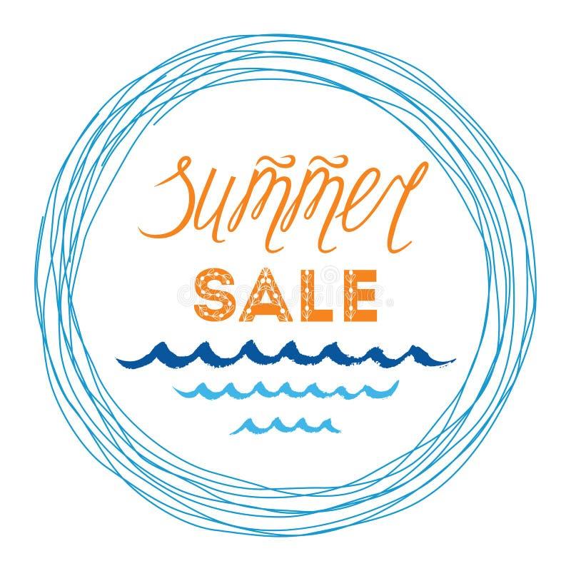 Summer Sale Banner Template, Hand Drawn Letterig Element, Sea Waves ...