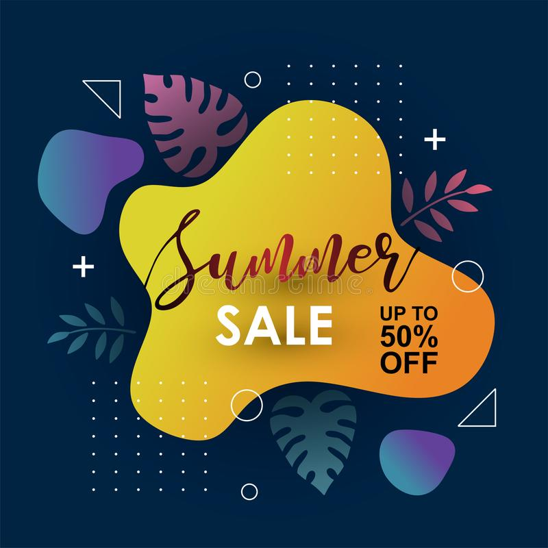 Summer Sale banner template liquid memphis fluid style design background. Trendy modern decoration vector illustration