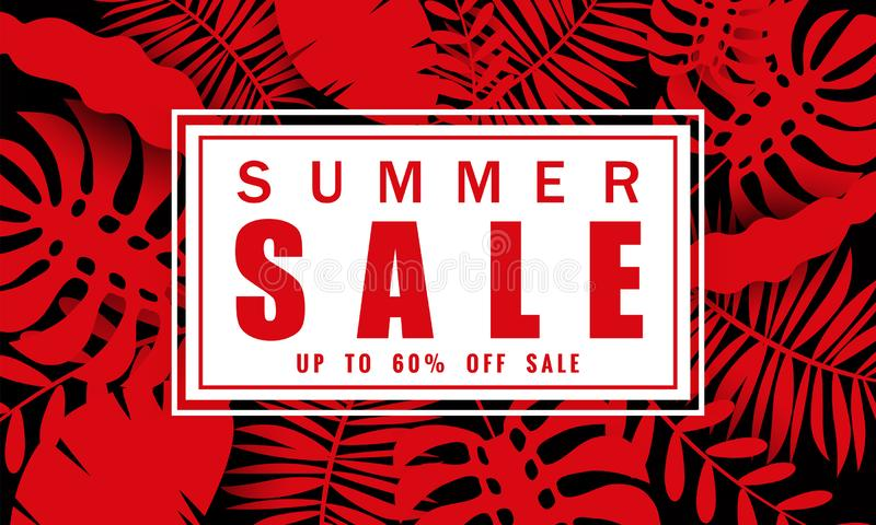 Summer sale banner template for seasonal sales with tropical leaves background, color exotic floral design banner, flyer royalty free illustration