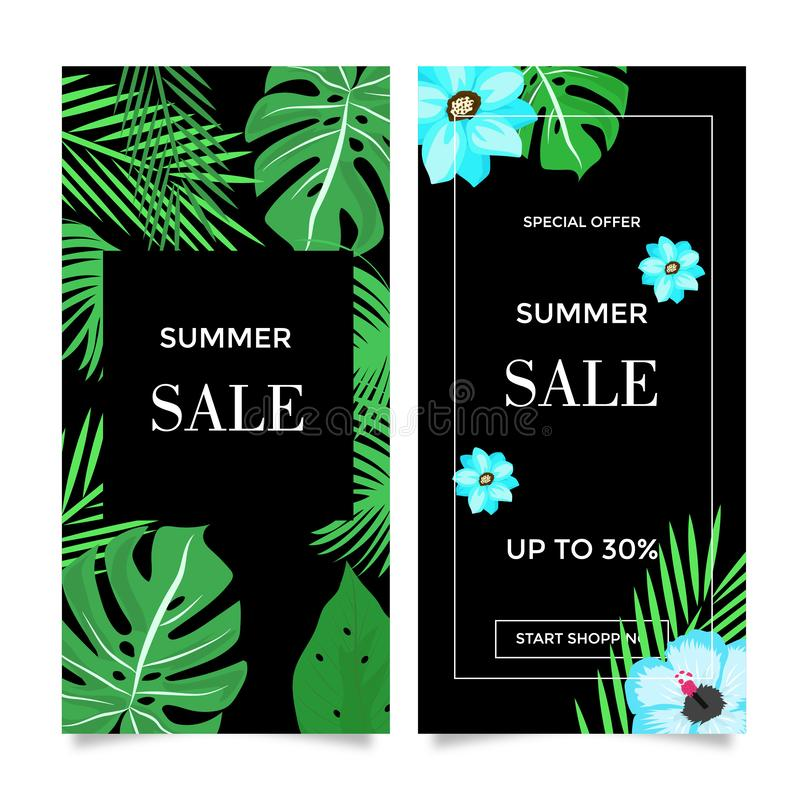 Summer sale banner templates. Design vector tropical summer sale off banner templates support eps10 and jpeg 300dpi size 600x600px stock illustration
