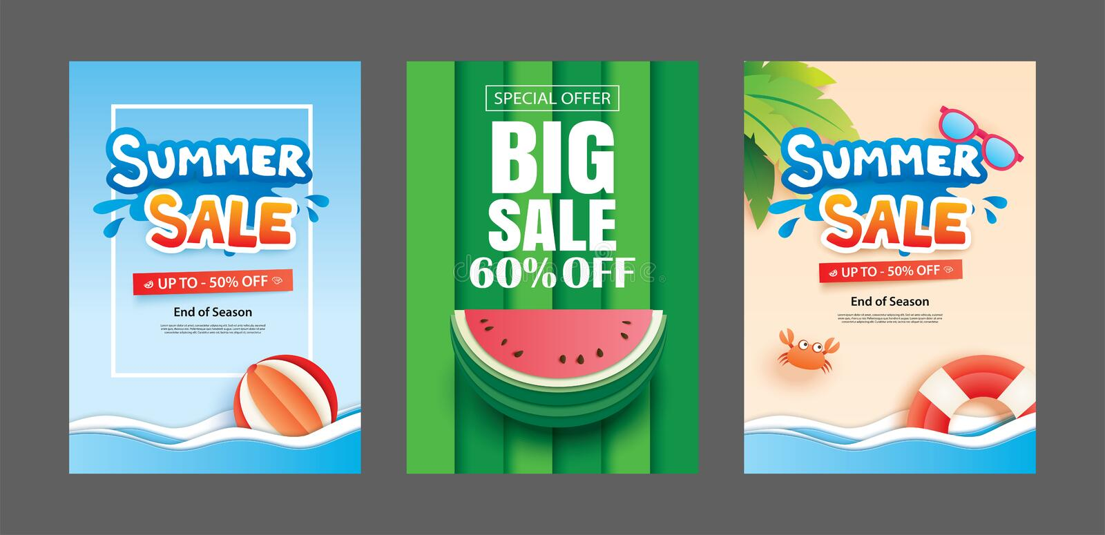 Summer sale banner templates. Paper art and craft style. Vector royalty free illustration