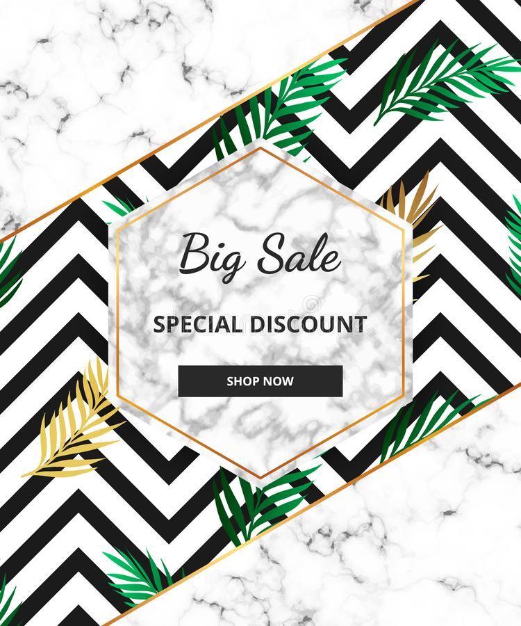 Summer Sale banner with tropical jungle, green leaf and marble texture background. Template for design card, flyer, invitation, pa stock illustration