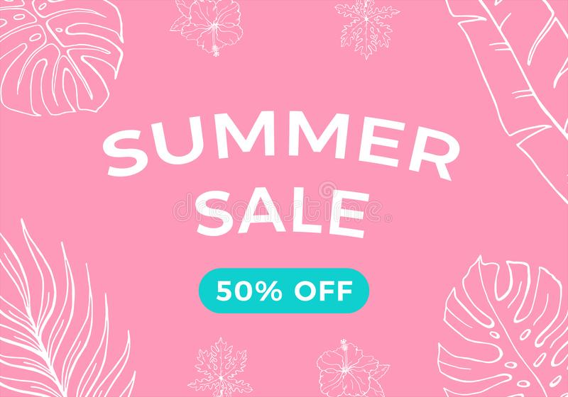 Summer sale banner with tropical leaves background, exotic floral design.  Discount vector illustration with pink and blue colors. stock illustration