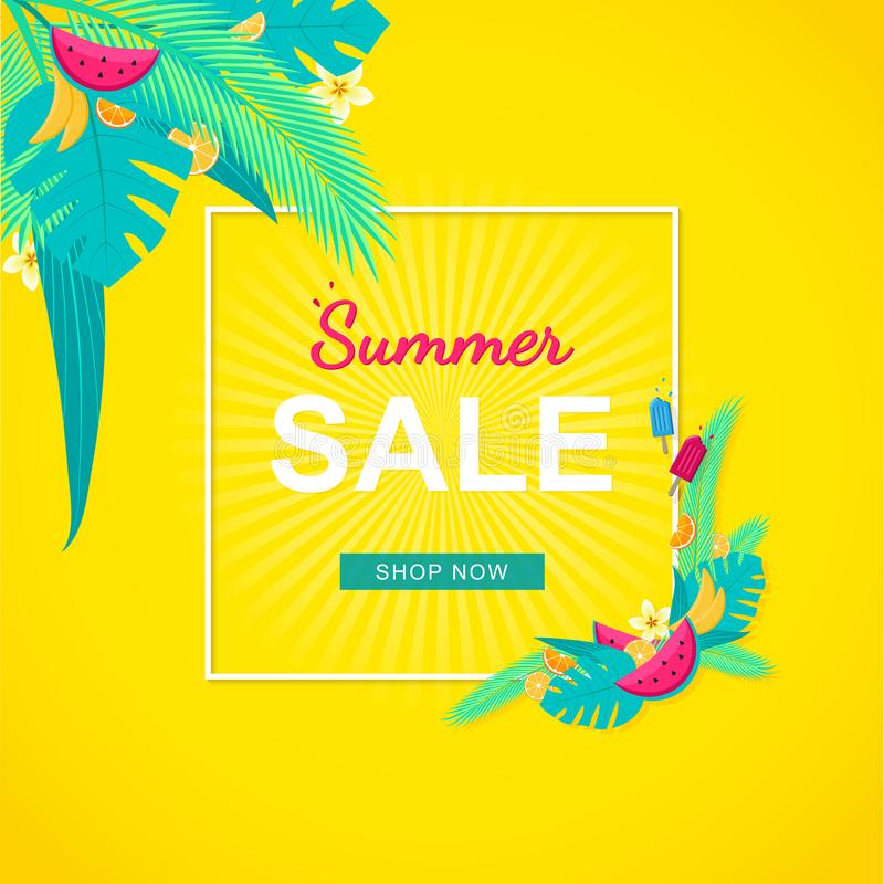 Summer Sale banner with tropical leaves, fruits and flowers, yellow background. stock illustration