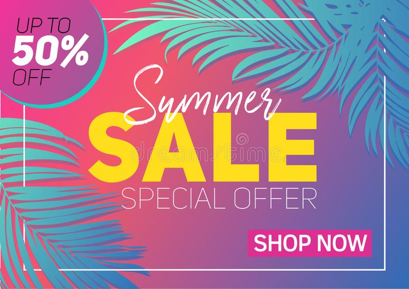 Summer sale banner tropical leaves stock photo