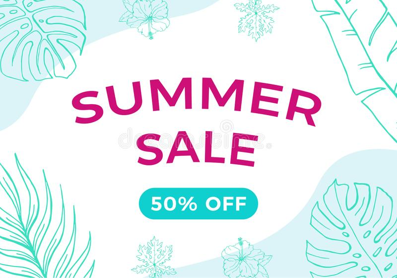 Summer sale banner with tropical leaves and waves  background.  Discount vector illustration blue and pink colors. vector illustration
