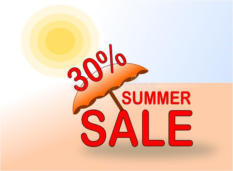 Summer Sale 30% banner with sun and beach umbrella stock photography