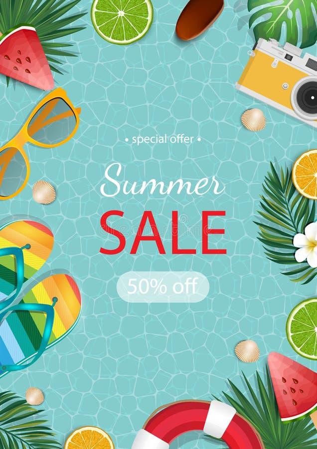 Summer sale banner vector illustration. Summer elements in colorful backgrounds. royalty free illustration