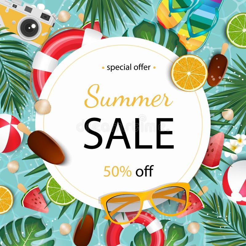 Summer sale banner vector illustration. Summer elements in colorful backgrounds. stock illustration