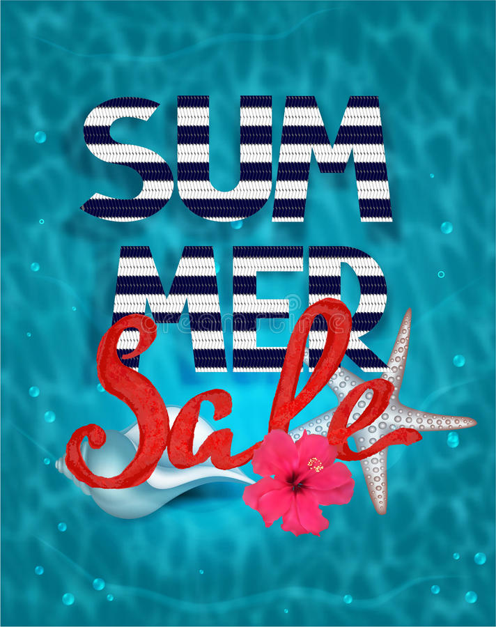 Summer sale banner with water background and sea design elements stock illustration