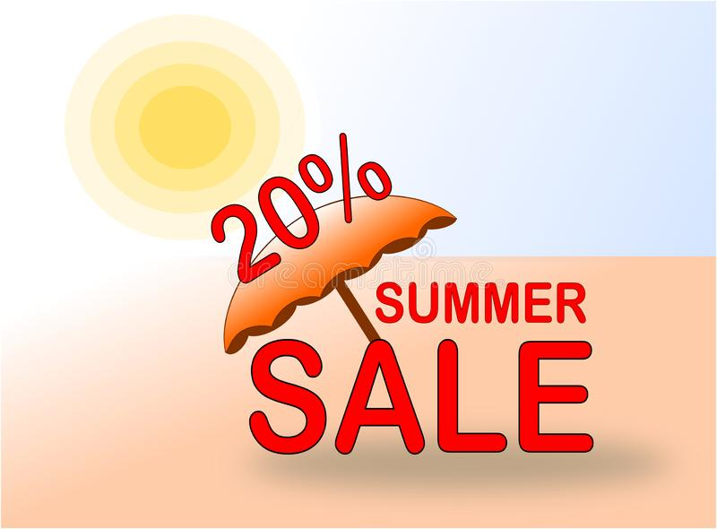 Summer Sale 20% banner with sun and beach umbrella royalty free stock images