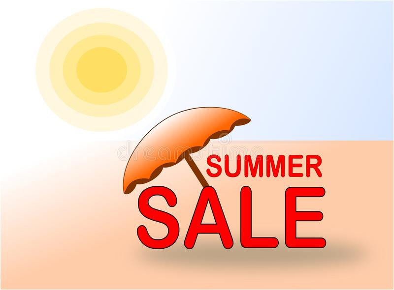 Summer Sale banner with sun and beach umbrella stock photography
