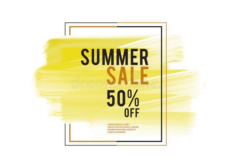 Summer Sale banner, yellow watercolor art brush stroke with frame, Grunge circle, icon design, Hand drawn design elements. Vector brush strokes vector illustration