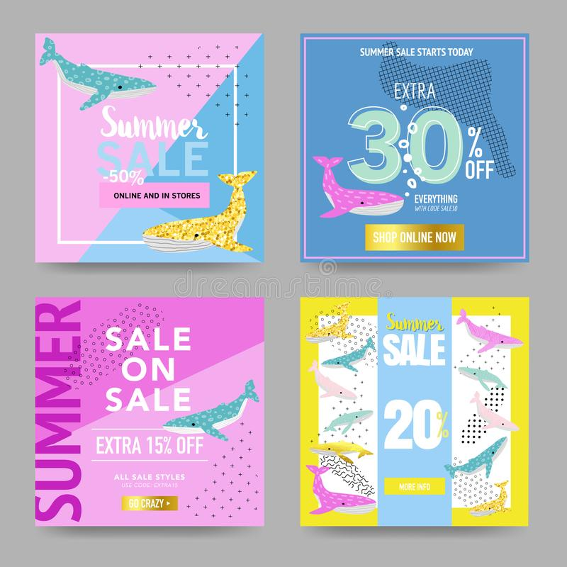 Summer Sale Banners with Cute Whales. Promotional Design Template for Posters, Flyers. Summer Discount Background stock illustration