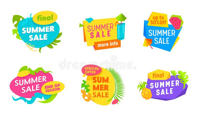 Summer Sale Banners Set with Abstract Elements, Palm Leaves and Typography Isolated on White Background, Promo. Advertising Off Poster, Ad Design, Cartoon Flat stock illustration
