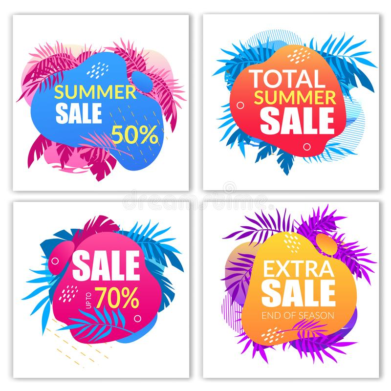 Summer Sale Banners Set with Doodle Style Elements. Palm Leaves and Typography Isolated on White Background, Promo Advertising Poster, Ad Design, Cartoon Flat vector illustration