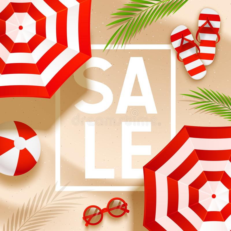 Summer sale beach background with sun umbrellas, flip flops, sunglasses, ball and palm leaves on sand. Summer sale beach background with sun umbrellas, flip stock illustration