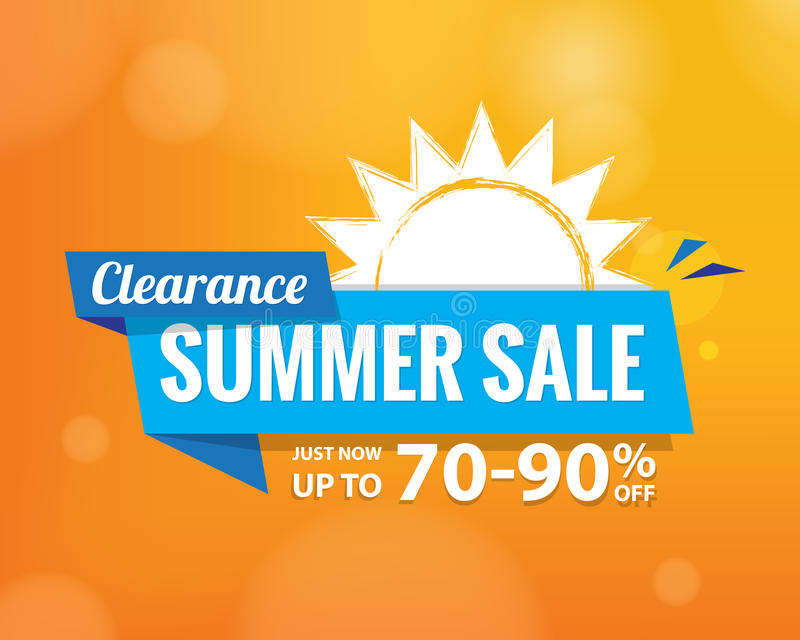 Summer Sale bule tag heading design on orange for banner or pos. Ter. Sale and Discounts Concept. Vector illustration royalty free illustration