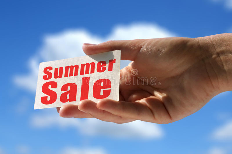 Summer sale. Business card with summer sale inscription stock photo