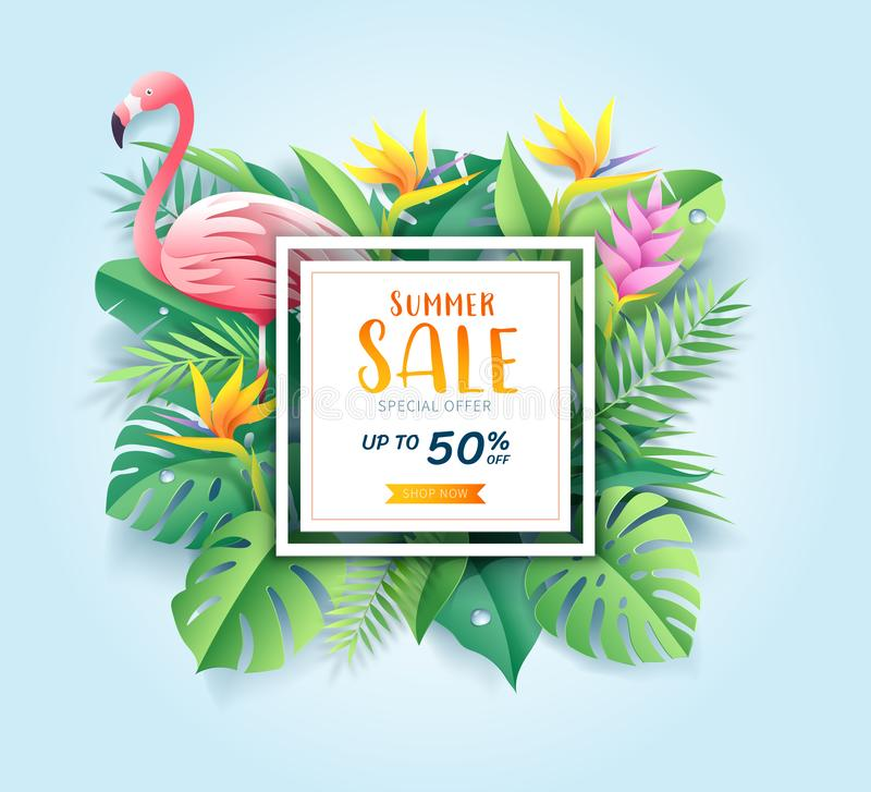 Summer sale card with pink flamingo on tropical leaf paper cut background. royalty free illustration