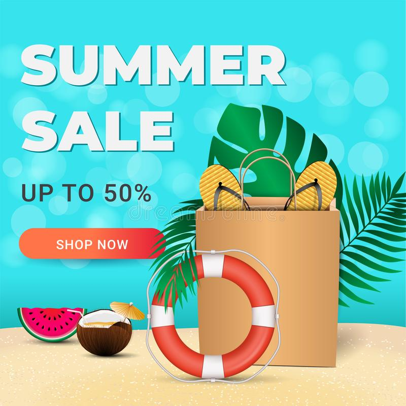 Summer sale card with realistic colorful summer elements for mobile and social media banner, poster, shopping ads, marketing mater. Ial. Ad concept. Vector royalty free illustration