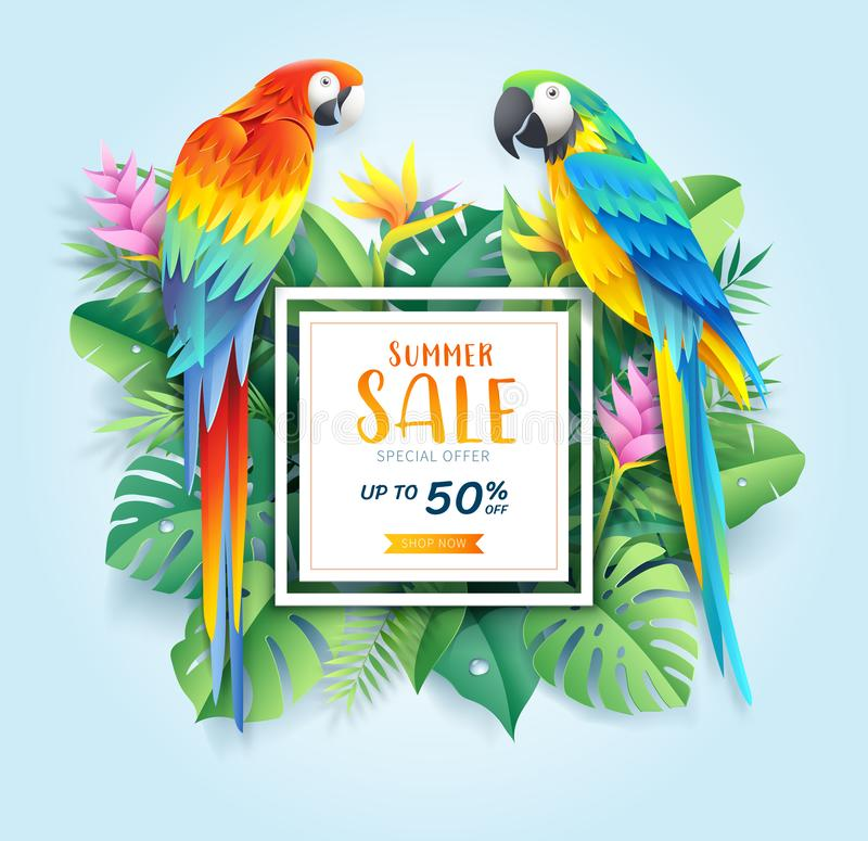 Summer sale card with Scarlet and blue macaw on tropical leaf paper cut background. Vector illustration royalty free illustration