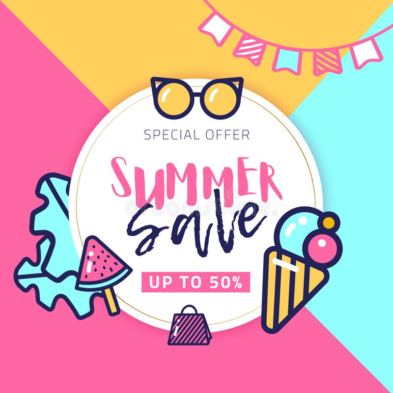 Summer sale circle vector banner with place for text and line art bright icons. Bright watermelon and ice stock illustration