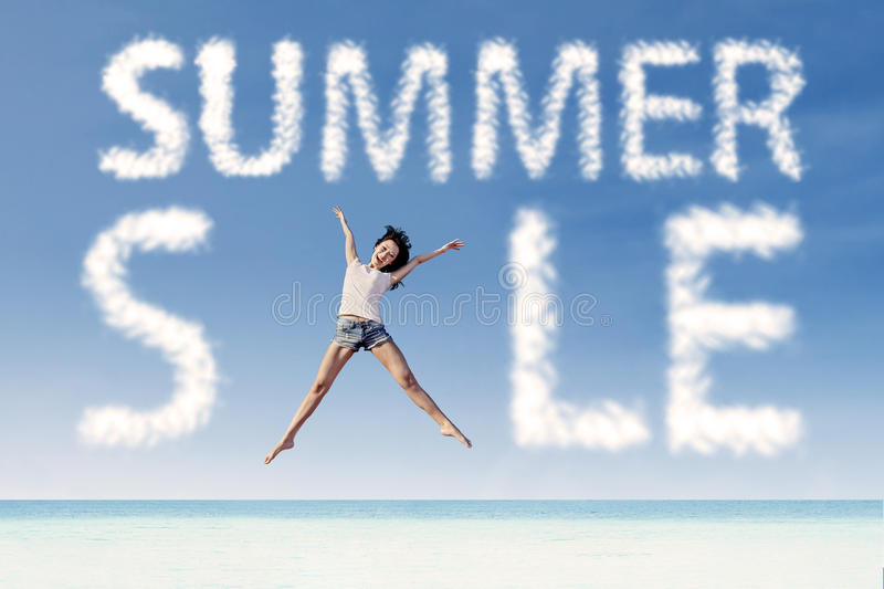 Download Summer Sale Clouds And Woman Jumping At Beach Stock Illustration - Image: 30761968