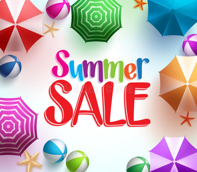 Summer Sale in Colorful Umbrella Background with Beach Balls royalty free illustration