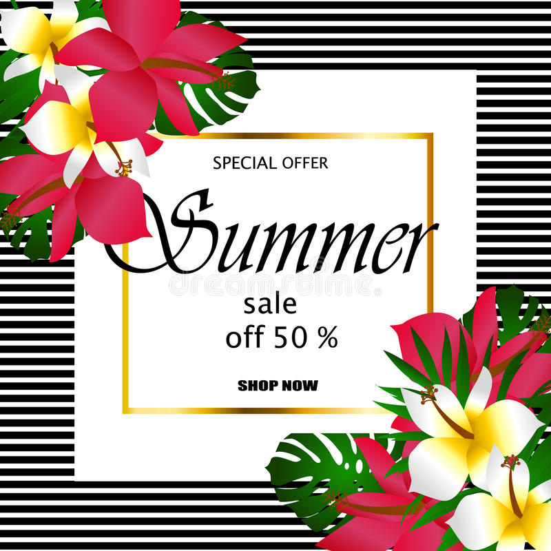 Summer sale Concept. Summer background with tropical flowers. Template Vector royalty free illustration