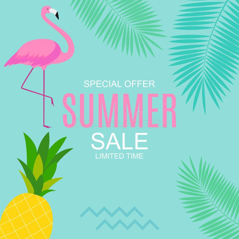 Summer Sale concept with Colorful Cartoon Pink Flamingo Background. Vector Illustration stock illustration