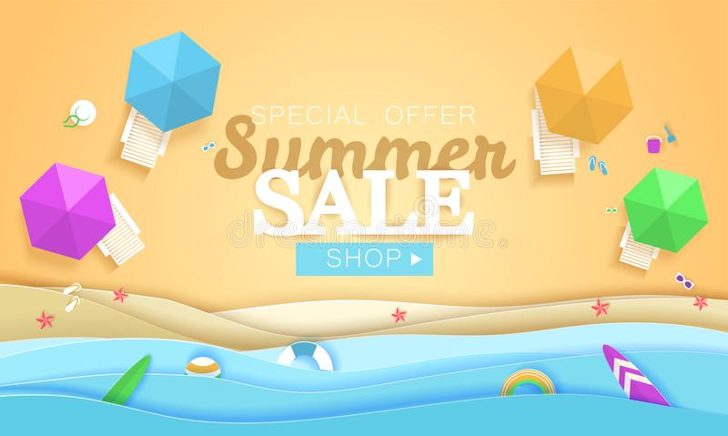 Summer sale concept vector banner. Tropical beach in paper art style. Top view paper cut illustration. Summer holiday royalty free illustration