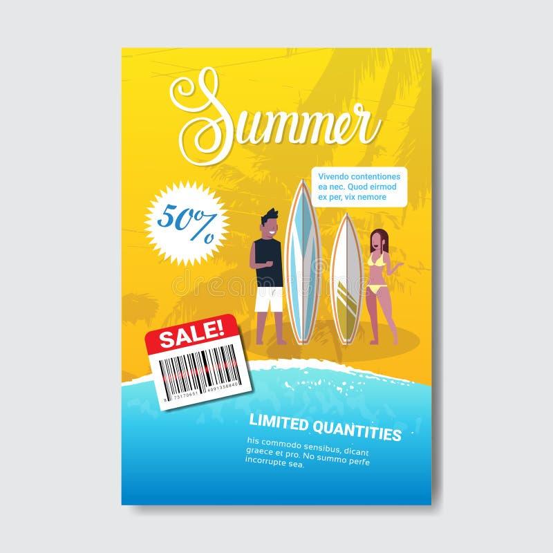 Summer sale couple man woman surfboard lettering badge design label season shopping for logo templates invitation stock illustration