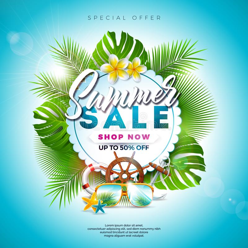 Summer Sale Design with Flower, Beach Holiday Elements and Exotic Leaves on Blue Background. Tropical Floral Vector stock illustration