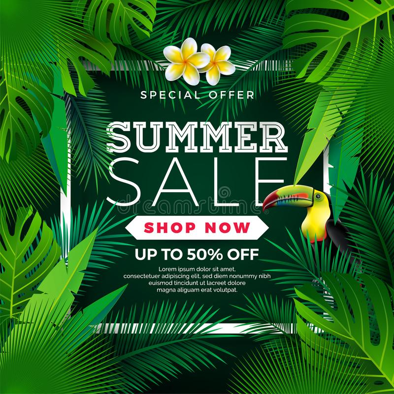 Summer Sale Design with Flower, Toucan and Exotic Leaves on Green Background. Tropical Floral Vector Illustration with stock illustration