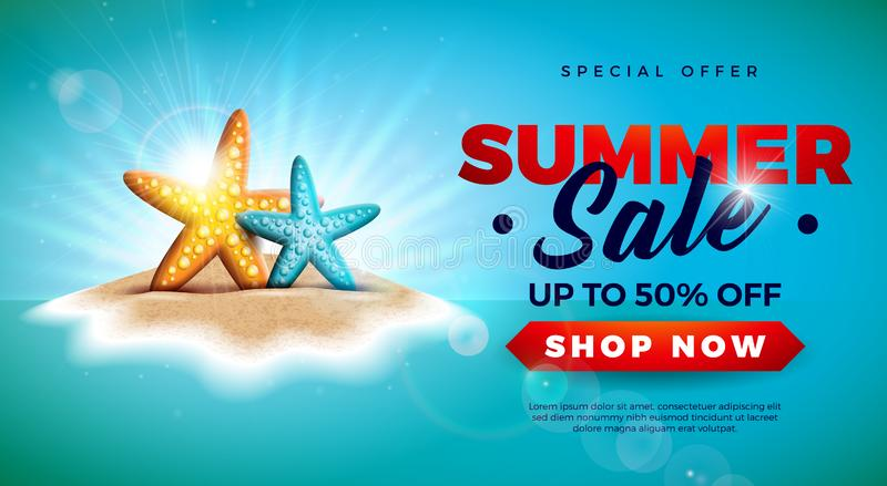 Summer Sale Design with Starfish on Tropical Island Background. Vector Special Offer Illustration with Blue Ocean vector illustration