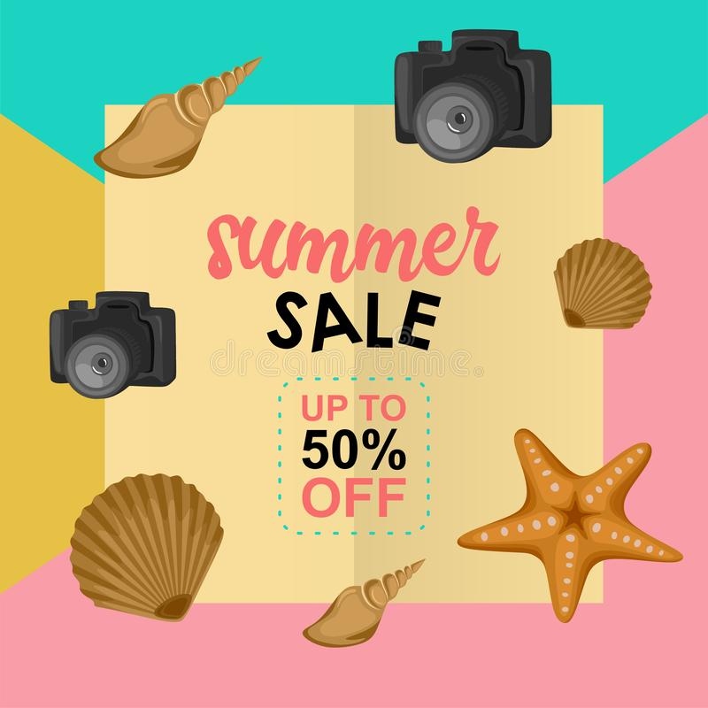 Summer sale design template with pastel background and beach element decoration. Poster, discount, season, vector, banner, offer, shop, label, special, tag vector illustration
