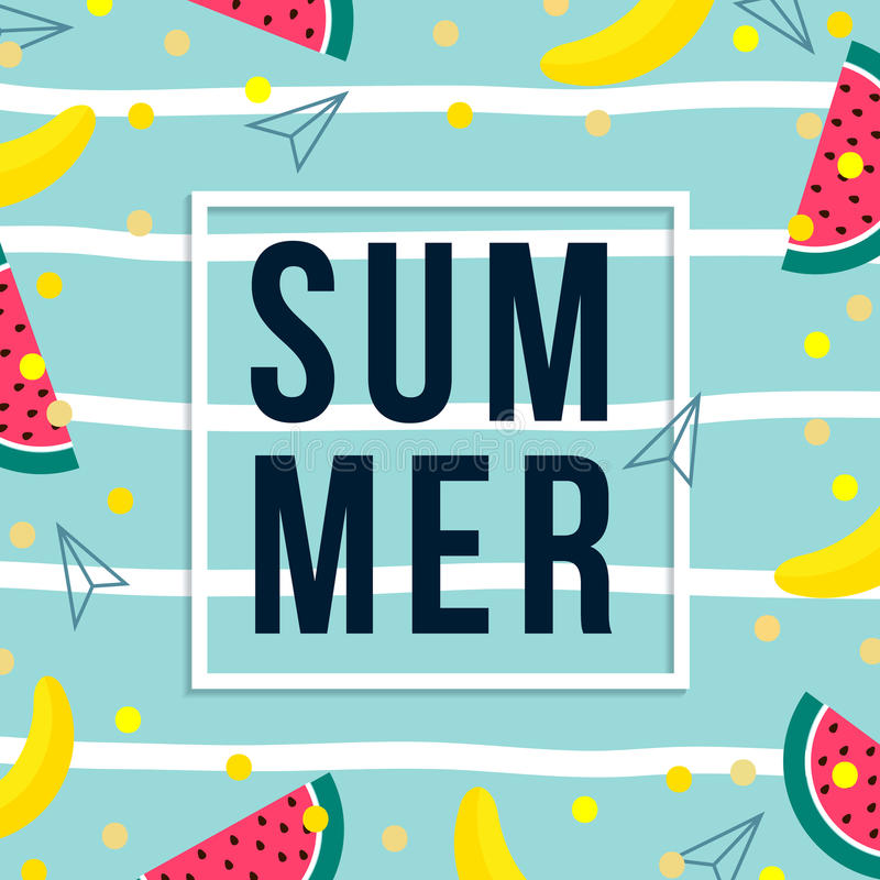Summer sale design template. pattern with fruits, banana, watermelon and geometric elements in memphis style background stock illustration