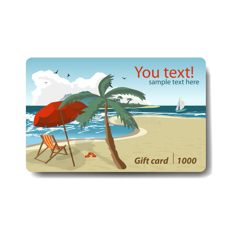 Beach Theme Card Stock: Summer Sale Discount Gift Card. Branding Design For Travel