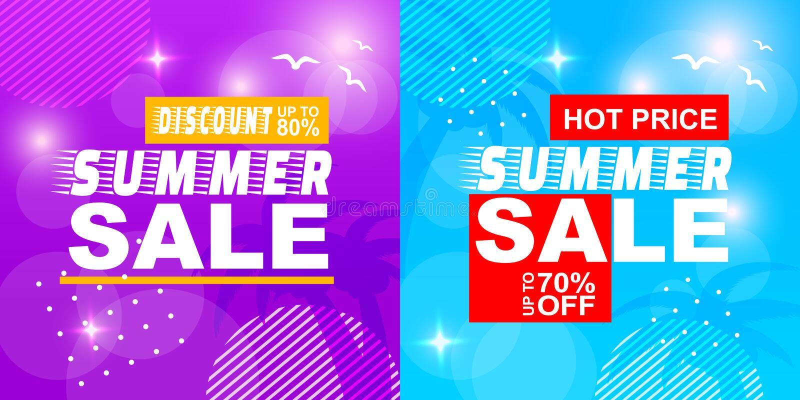 Summer Sale Discount Hot Price Off Banner Set royalty free illustration