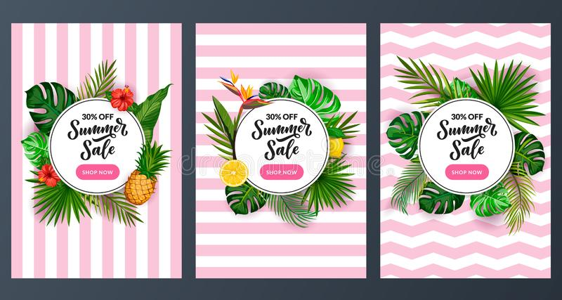 Summer sale discount poster set. Tropical banner design template. Vector cartoon green palm leaves background stock illustration