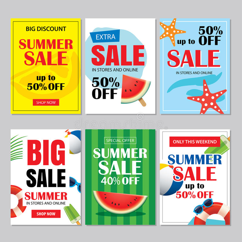 Summer sale emails and banners mobile templates. Vector illustrations for website, posters, brochure, voucher discount, flyers, n stock illustration